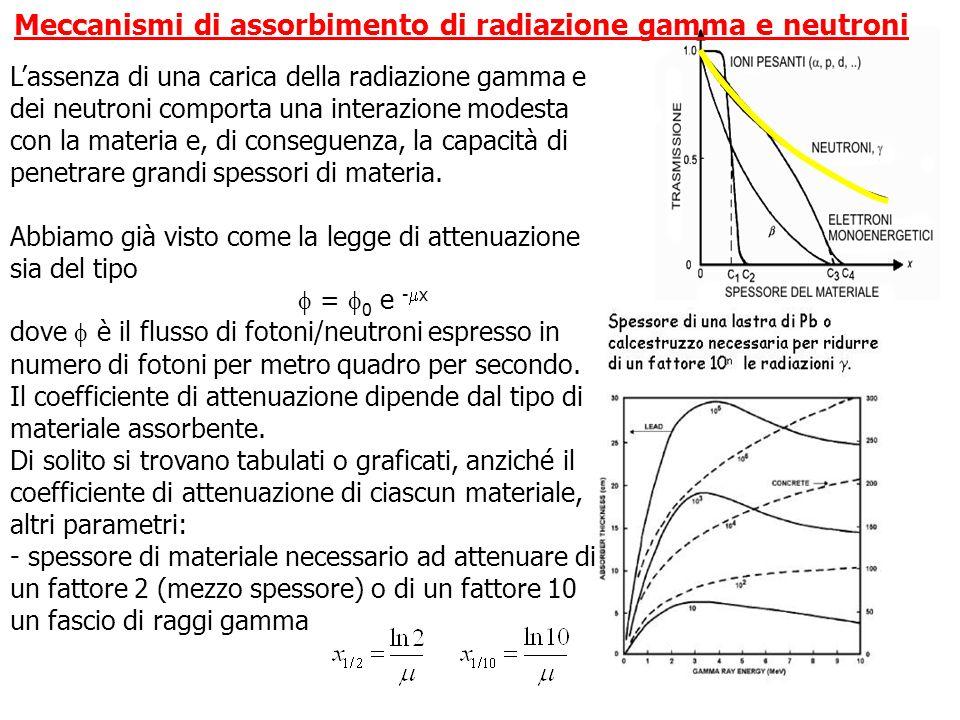 Lassenza di una carica della radiazione gamma e dei neutroni comporta una interazione modesta con la materia e, di conseguenza, la capacità di penetra