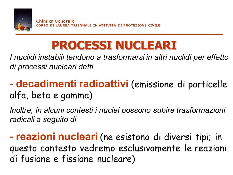 PROCESSI NUCLEARI I nuclidi instabili tendono a trasformarsi in altri nuclidi per effetto di processi nucleari detti - decadimenti radioattivi (emissi