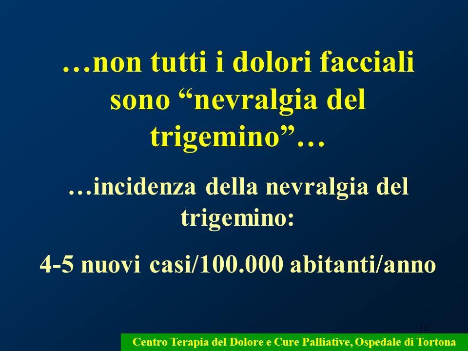 33 Centro Terapia del Dolore e Cure Palliative, Ospedale di Tortona …non tutti i dolori facciali sono nevralgia del trigemino… …incidenza della nevral