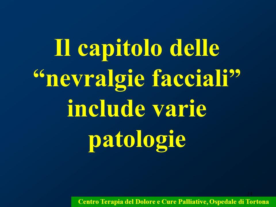 34 Centro Terapia del Dolore e Cure Palliative, Ospedale di Tortona Il capitolo delle nevralgie facciali include varie patologie