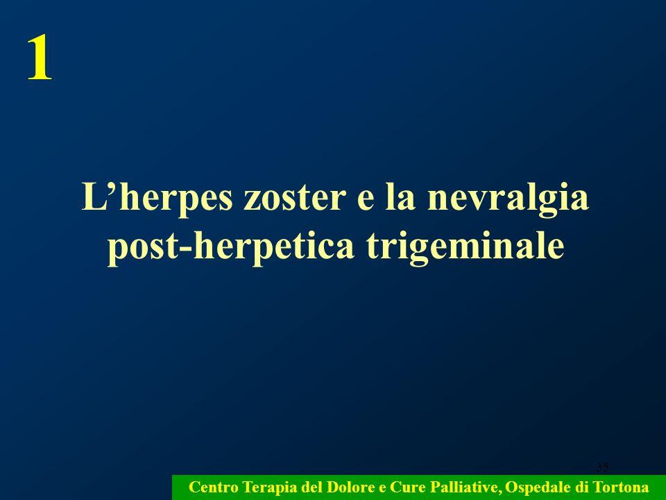 35 Centro Terapia del Dolore e Cure Palliative, Ospedale di Tortona Lherpes zoster e la nevralgia post-herpetica trigeminale 1
