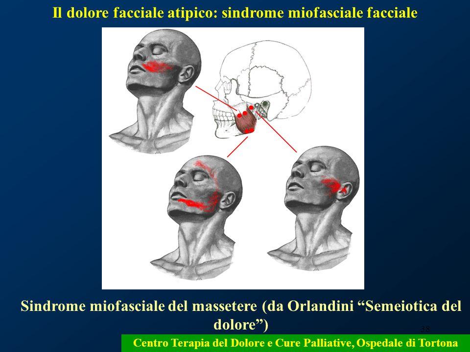 38 Sindrome miofasciale del massetere (da Orlandini Semeiotica del dolore) Centro Terapia del Dolore e Cure Palliative, Ospedale di Tortona Il dolore
