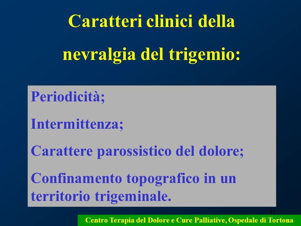 45 Centro Terapia del Dolore e Cure Palliative, Ospedale di Tortona Caratteri clinici della nevralgia del trigemio: Periodicità; Intermittenza; Caratt
