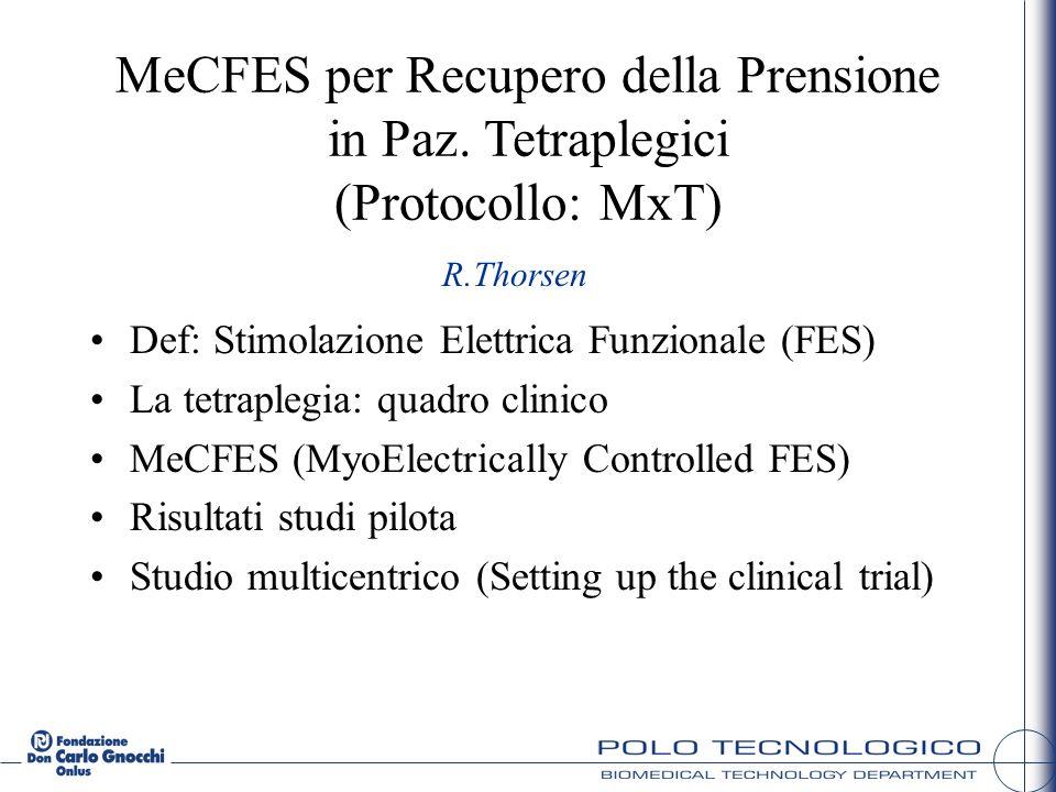 MeCFES per Recupero della Prensione in Paz. Tetraplegici (Protocollo: MxT) Def: Stimolazione Elettrica Funzionale (FES) La tetraplegia: quadro clinico