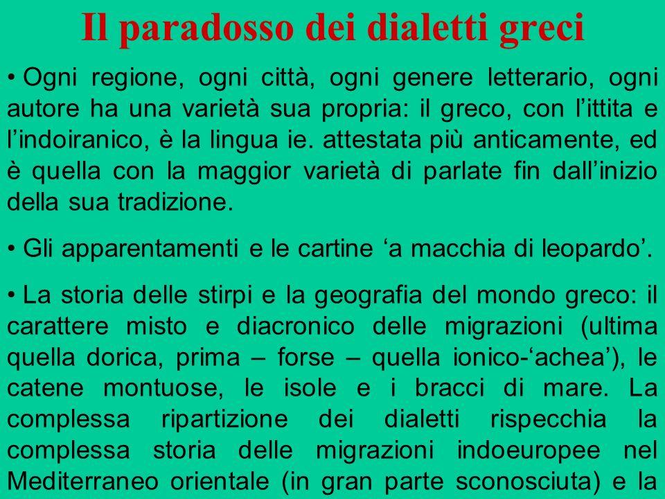 Il paradosso dei dialetti greci Ogni regione, ogni città, ogni genere letterario, ogni autore ha una varietà sua propria: il greco, con littita e lind