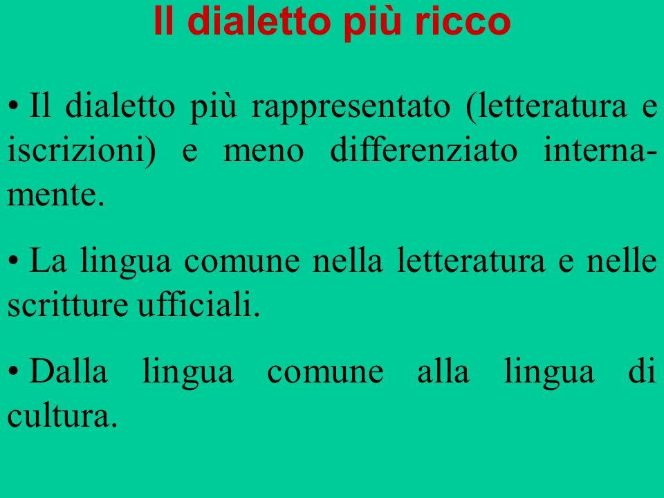 Il dialetto più ricco Il dialetto più rappresentato (letteratura e iscrizioni) e meno differenziato interna- mente. La lingua comune nella letteratura