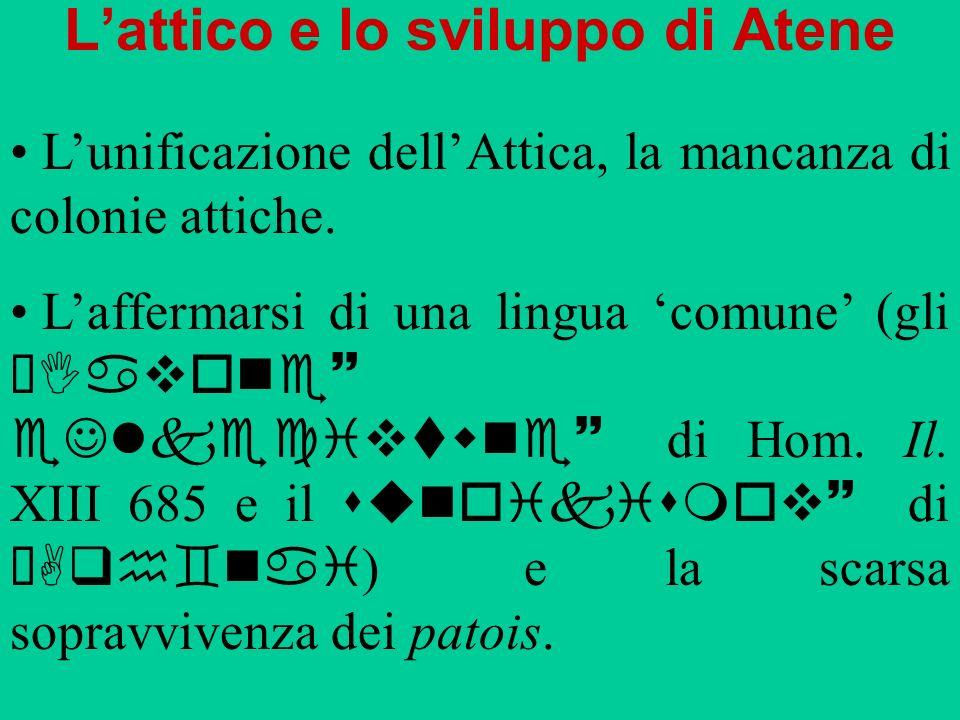 Lattico e lo sviluppo di Atene Lunificazione dellAttica, la mancanza di colonie attiche. Laffermarsi di una lingua comune (gli ÆIavone~ eJlkecivtwne~