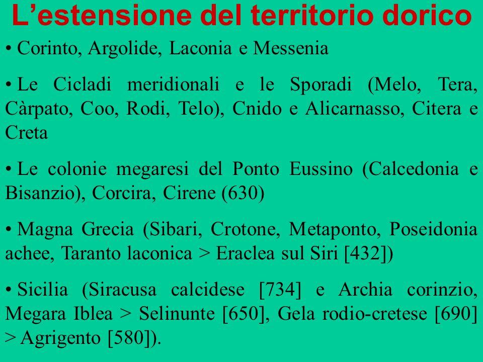 Lestensione del territorio dorico Corinto, Argolide, Laconia e Messenia Le Cicladi meridionali e le Sporadi (Melo, Tera, Càrpato, Coo, Rodi, Telo), Cn