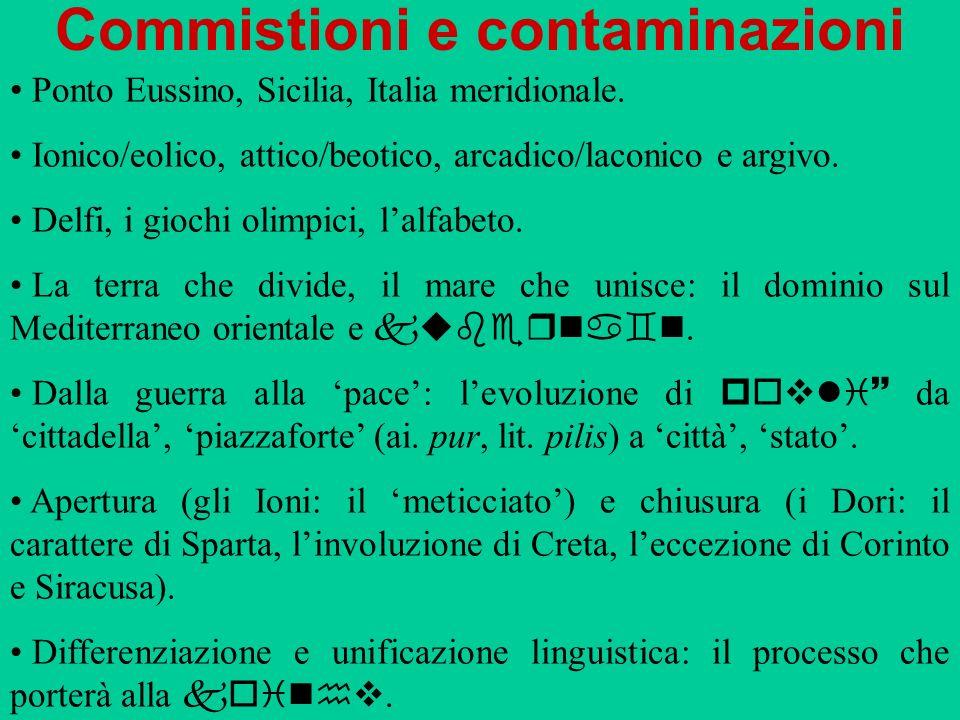 Commistioni e contaminazioni Ponto Eussino, Sicilia, Italia meridionale. Ionico/eolico, attico/beotico, arcadico/laconico e argivo. Delfi, i giochi ol