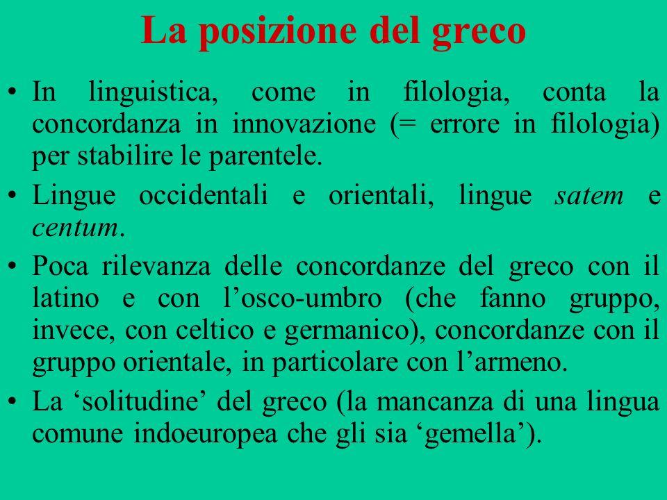 La posizione del greco In linguistica, come in filologia, conta la concordanza in innovazione (= errore in filologia) per stabilire le parentele. Ling