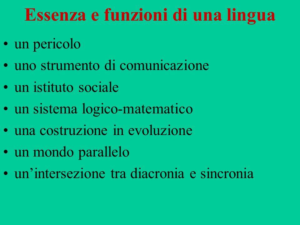 Essenza e funzioni di una lingua un pericolo uno strumento di comunicazione un istituto sociale un sistema logico-matematico una costruzione in evoluz