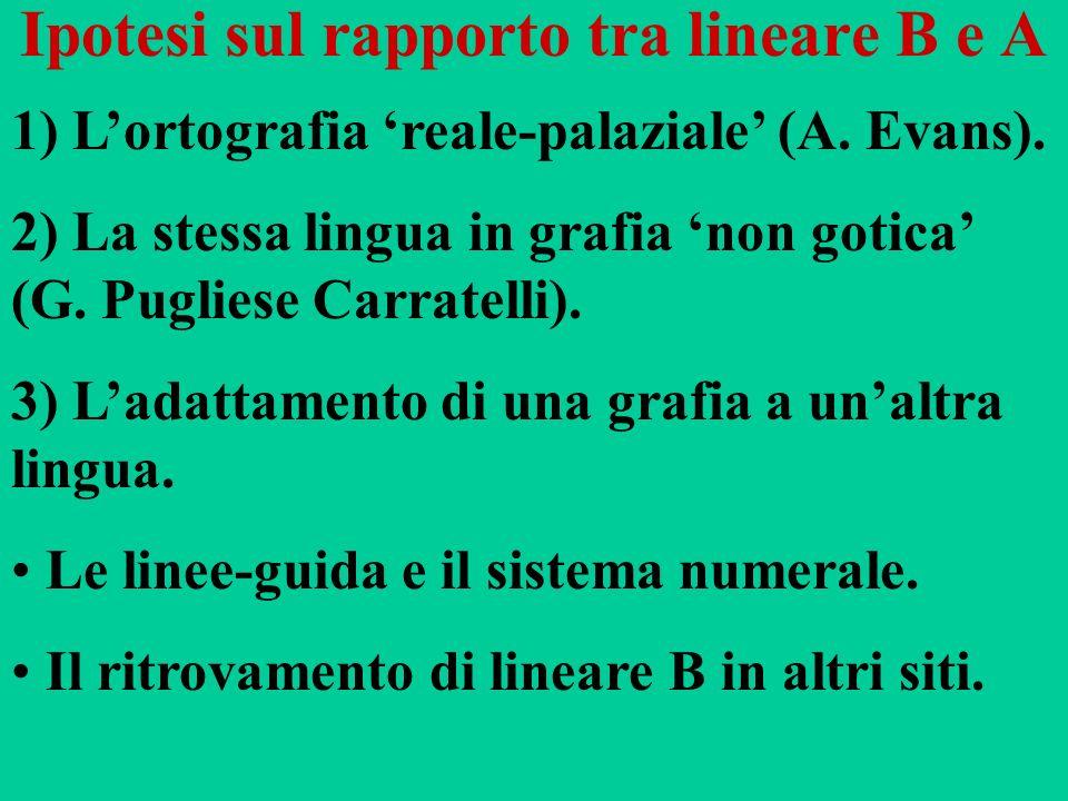 Ipotesi sul rapporto tra lineare B e A 1) Lortografia reale-palaziale (A. Evans). 2) La stessa lingua in grafia non gotica (G. Pugliese Carratelli). 3