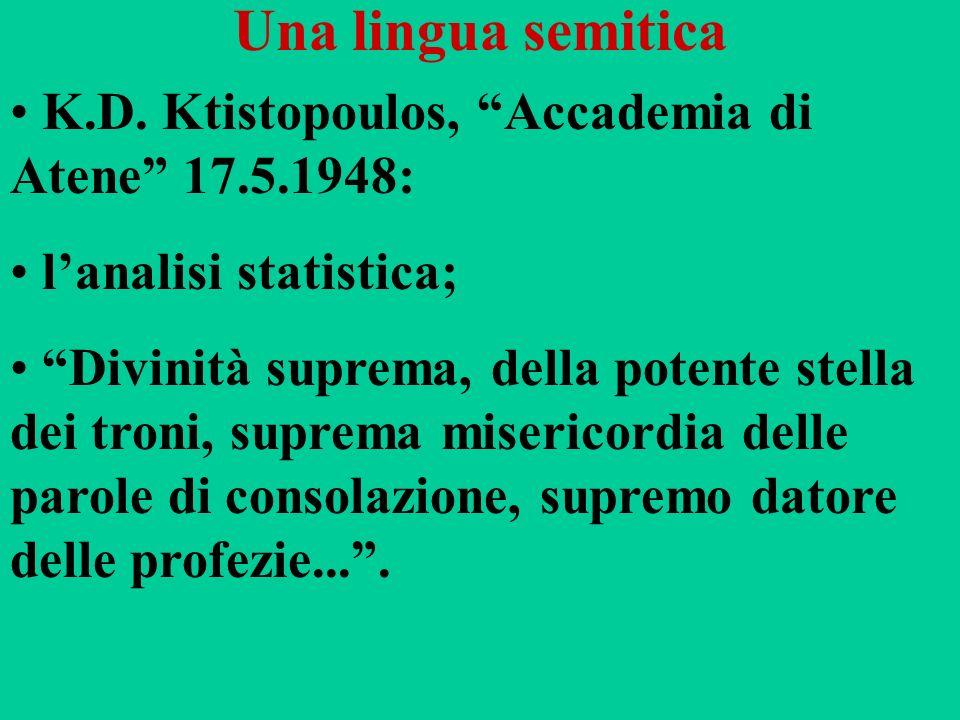 Una lingua semitica K.D. Ktistopoulos, Accademia di Atene 17.5.1948: lanalisi statistica; Divinità suprema, della potente stella dei troni, suprema mi