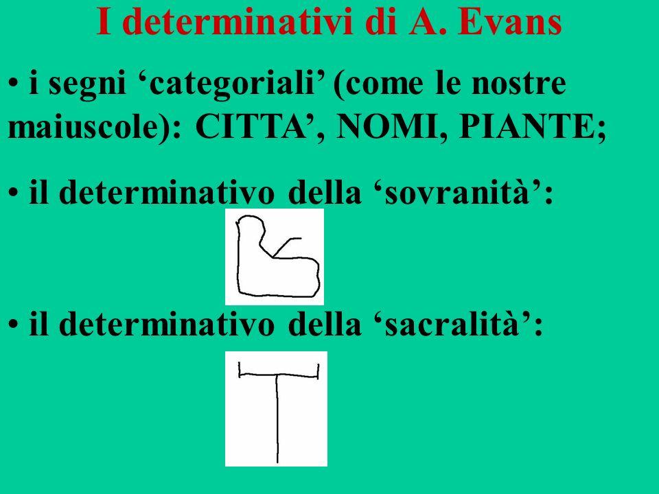 I determinativi di A. Evans i segni categoriali (come le nostre maiuscole): CITTA, NOMI, PIANTE; il determinativo della sovranità: il determinativo de