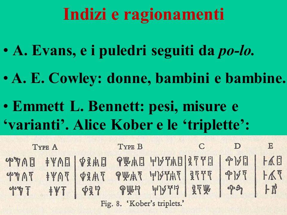 Indizi e ragionamenti A. Evans, e i puledri seguiti da po-lo. A. E. Cowley: donne, bambini e bambine. Emmett L. Bennett: pesi, misure e varianti. Alic