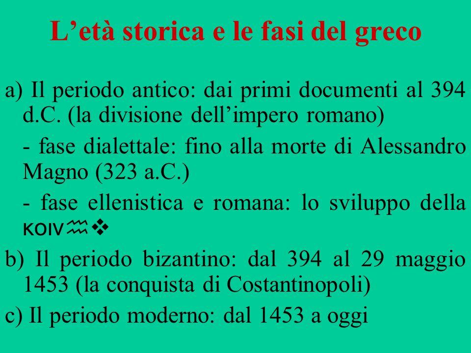 Letà storica e le fasi del greco a) Il periodo antico: dai primi documenti al 394 d.C. (la divisione dellimpero romano) - fase dialettale: fino alla m