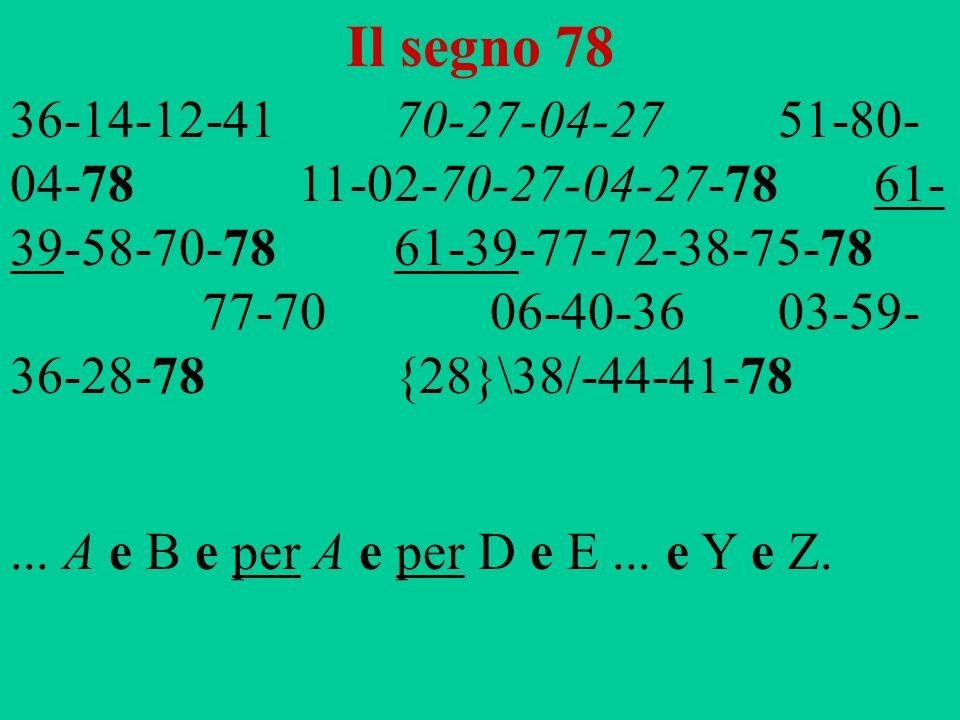 Il segno 78 36-14-12-4170-27-04-2751-80- 04-7811-02-70-27-04-27-7861- 39-58-70-78 61-39-77-72-38-75-78 77-7006-40-3603-59- 36-28-78{28}\38/-44-41-78..