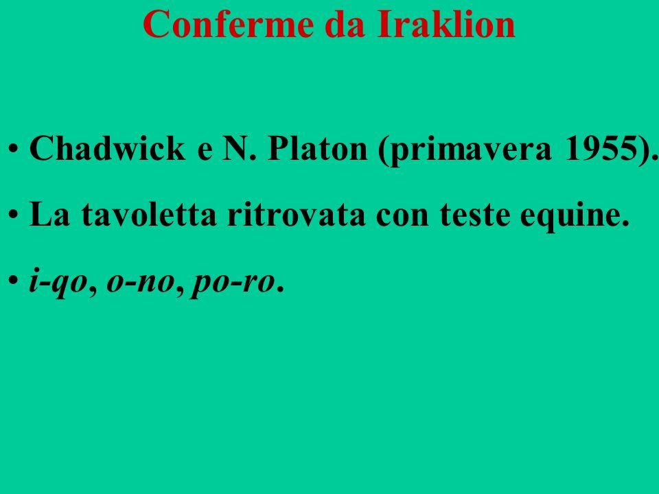 Conferme da Iraklion Chadwick e N. Platon (primavera 1955). La tavoletta ritrovata con teste equine. i-qo, o-no, po-ro.
