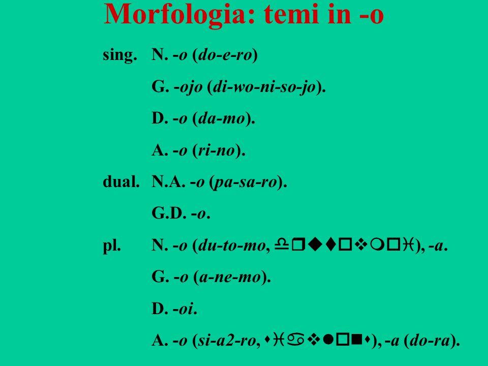 Morfologia: temi in -o sing.N. -o (do-e-ro) G. -ojo (di-wo-ni-so-jo). D. -o (da-mo). A. -o (ri-no). dual.N.A. -o (pa-sa-ro). G.D. -o. pl.N. -o (du-to-