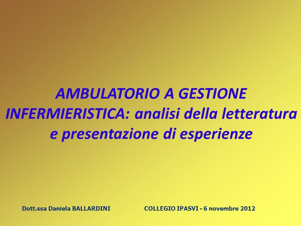 Dott.ssa Daniela BALLARDINI COLLEGIO IPASVI - 6 novembre 2012 AMBULATORIO A GESTIONE INFERMIERISTICA: analisi della letteratura e presentazione di esp