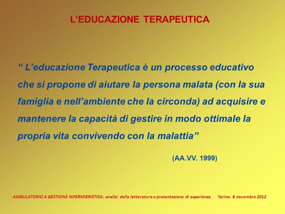AMBULATORIO A GESTIONE INFERMIERISTICA: analisi della letteratura e presentazione di esperienze Torino. 6 novembre 2012 LEDUCAZIONE TERAPEUTICA Leduca