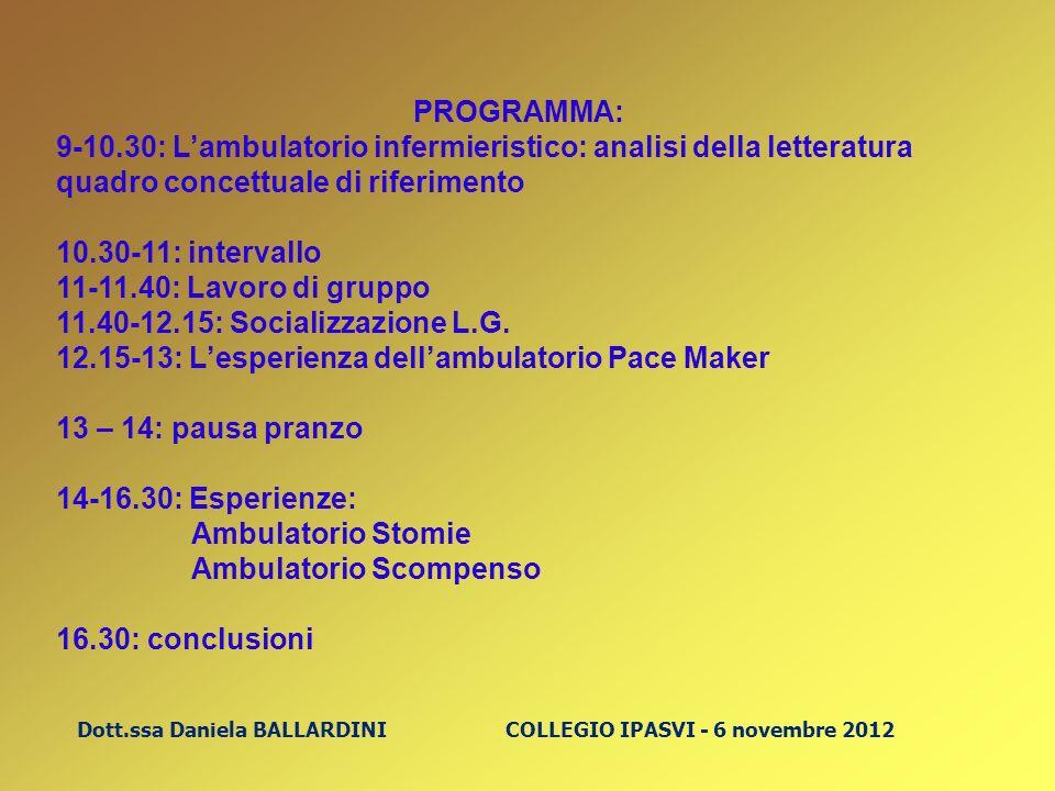Dott.ssa Daniela BALLARDINI COLLEGIO IPASVI - 6 novembre 2012 PROGRAMMA: 9-10.30: Lambulatorio infermieristico: analisi della letteratura quadro conce