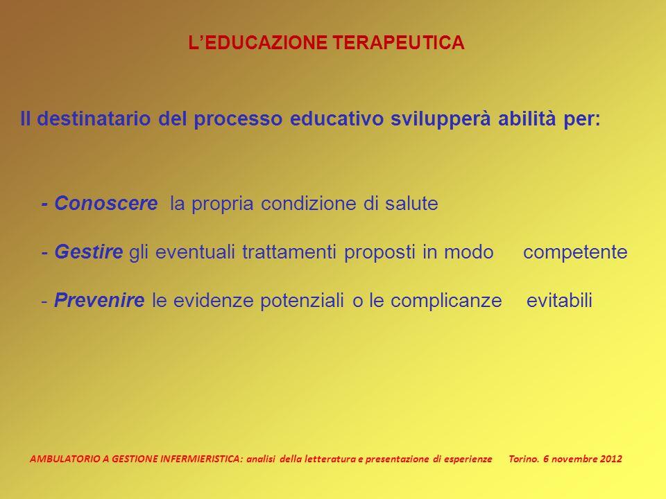 AMBULATORIO A GESTIONE INFERMIERISTICA: analisi della letteratura e presentazione di esperienze Torino. 6 novembre 2012 LEDUCAZIONE TERAPEUTICA Il des