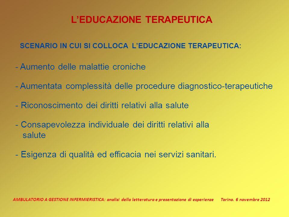 AMBULATORIO A GESTIONE INFERMIERISTICA: analisi della letteratura e presentazione di esperienze Torino. 6 novembre 2012 LEDUCAZIONE TERAPEUTICA SCENAR