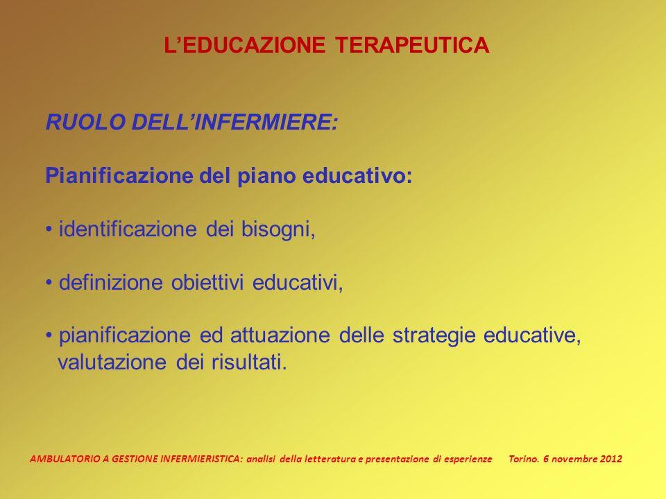 AMBULATORIO A GESTIONE INFERMIERISTICA: analisi della letteratura e presentazione di esperienze Torino. 6 novembre 2012 LEDUCAZIONE TERAPEUTICA RUOLO