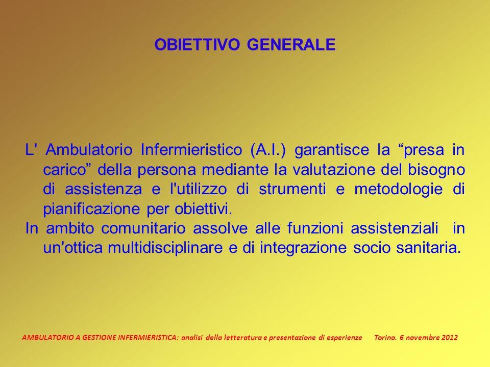 AMBULATORIO A GESTIONE INFERMIERISTICA: analisi della letteratura e presentazione di esperienze Torino. 6 novembre 2012 OBIETTIVO GENERALE L' Ambulato