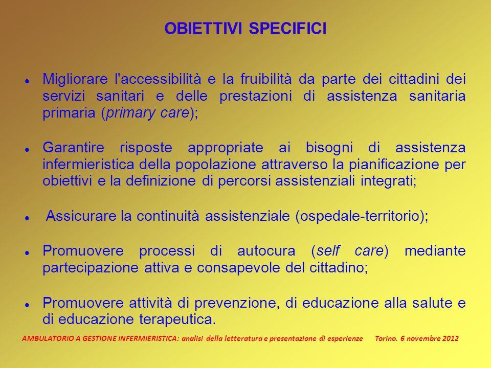 AMBULATORIO A GESTIONE INFERMIERISTICA: analisi della letteratura e presentazione di esperienze Torino. 6 novembre 2012 OBIETTIVI SPECIFICI Migliorare