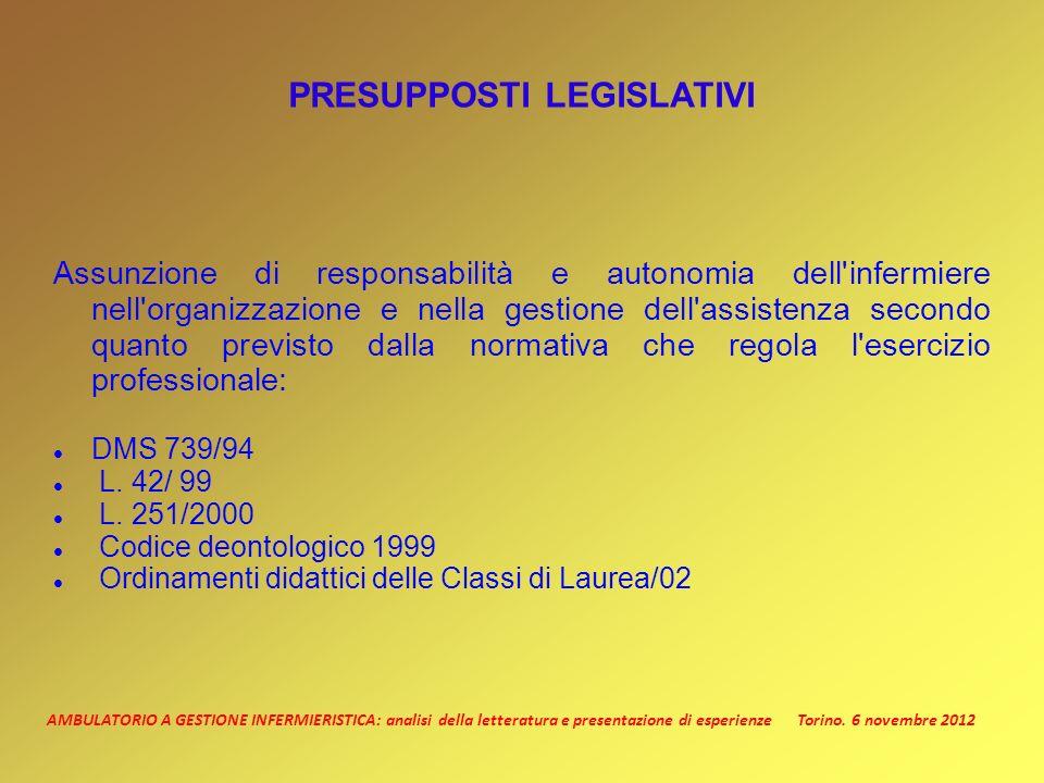 AMBULATORIO A GESTIONE INFERMIERISTICA: analisi della letteratura e presentazione di esperienze Torino.