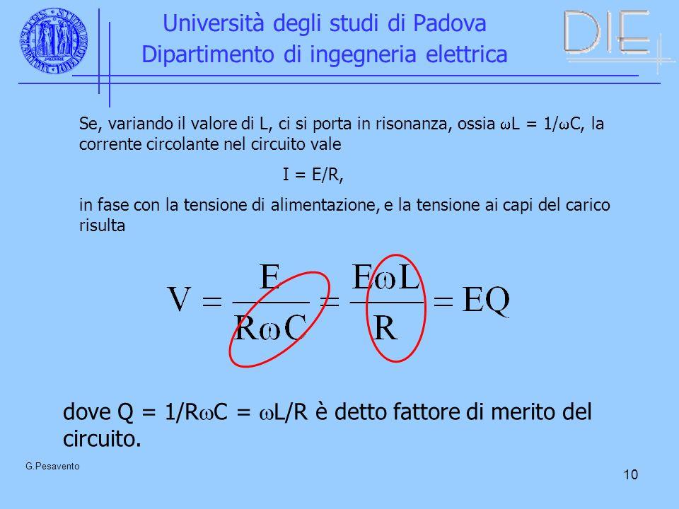 10 Università degli studi di Padova Dipartimento di ingegneria elettrica G.Pesavento Se, variando il valore di L, ci si porta in risonanza, ossia L =