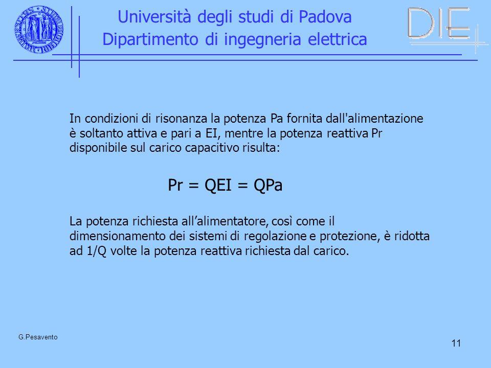 11 Università degli studi di Padova Dipartimento di ingegneria elettrica G.Pesavento In condizioni di risonanza la potenza Pa fornita dall'alimentazio