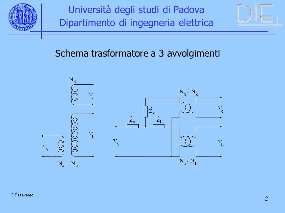 2 Università degli studi di Padova Dipartimento di ingegneria elettrica G.Pesavento Schema trasformatore a 3 avvolgimenti