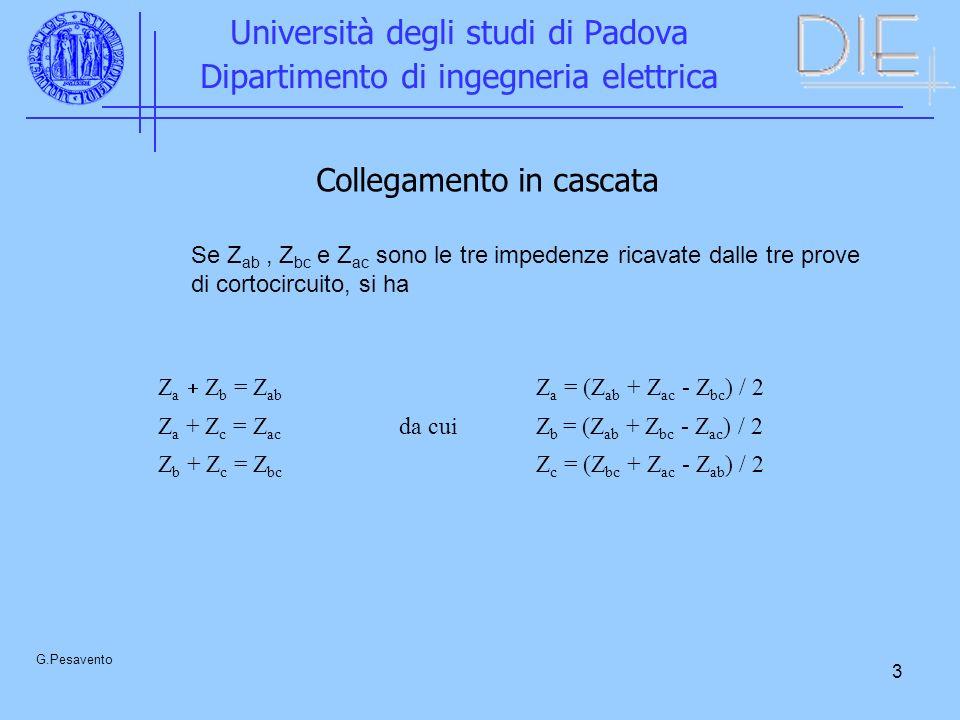 3 Università degli studi di Padova Dipartimento di ingegneria elettrica G.Pesavento Collegamento in cascata Se Z ab, Z bc e Z ac sono le tre impedenze