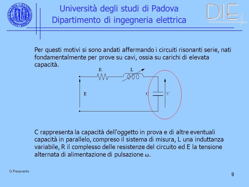 9 Università degli studi di Padova Dipartimento di ingegneria elettrica G.Pesavento Per questi motivi si sono andati affermando i circuiti risonanti s