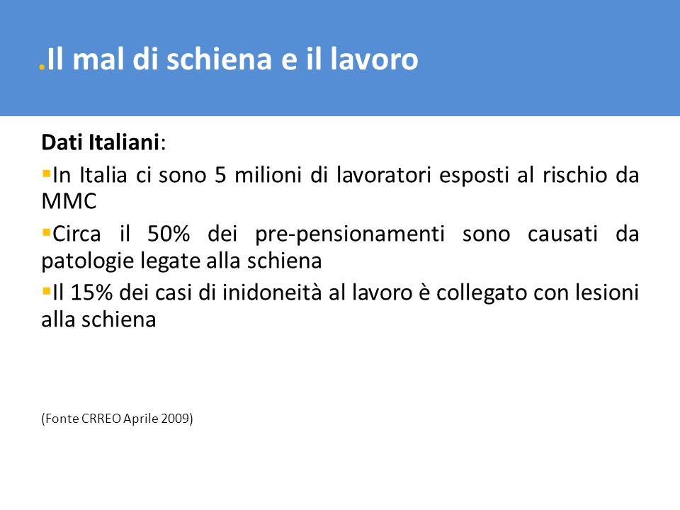 .Il mal di schiena e il lavoro Dati Italiani: In Italia ci sono 5 milioni di lavoratori esposti al rischio da MMC Circa il 50% dei pre-pensionamenti s