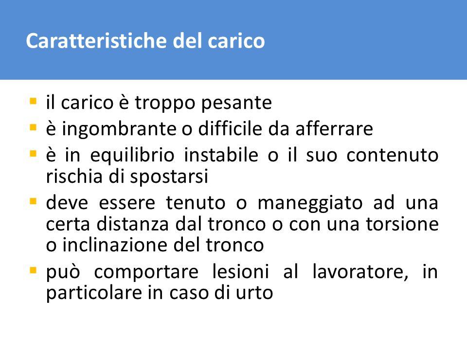 Caratteristiche del carico il carico è troppo pesante è ingombrante o difficile da afferrare è in equilibrio instabile o il suo contenuto rischia di s