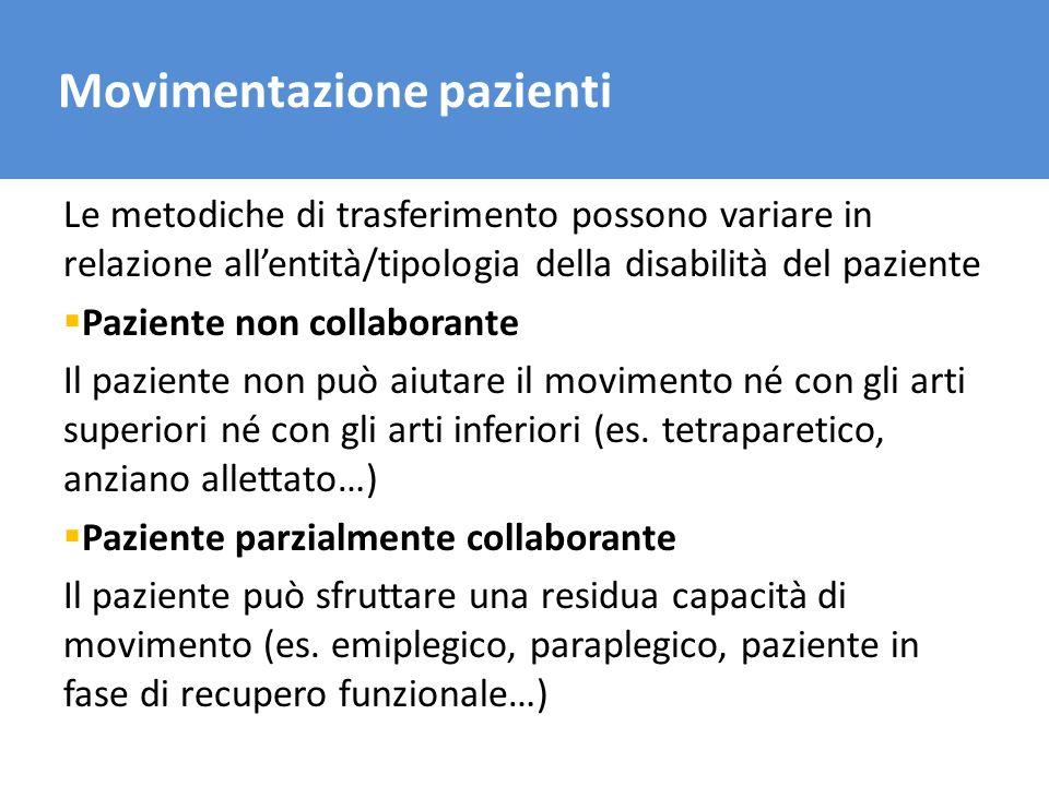 Il trasporto del carico Movimentazione pazienti Le metodiche di trasferimento possono variare in relazione allentità/tipologia della disabilità del pa
