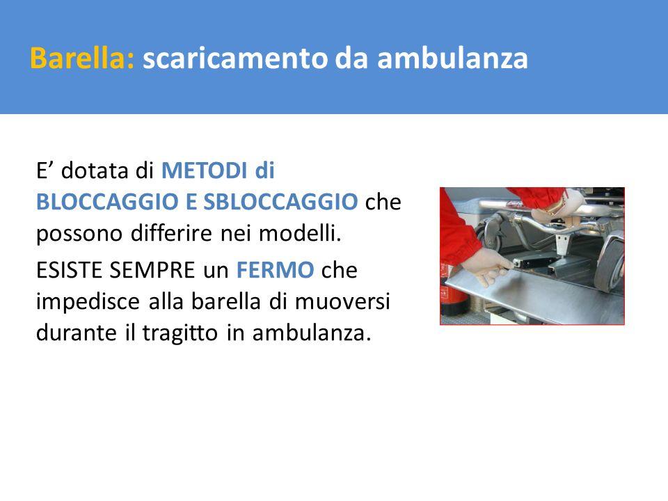 Il trasporto del carico Barella: scaricamento da ambulanza E dotata di METODI di BLOCCAGGIO E SBLOCCAGGIO che possono differire nei modelli. ESISTE SE