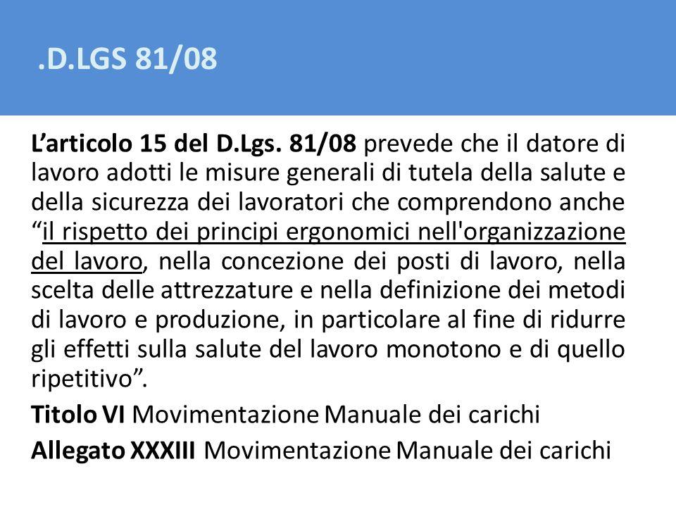 .D.LGS 81/08 Larticolo 15 del D.Lgs. 81/08 prevede che il datore di lavoro adotti le misure generali di tutela della salute e della sicurezza dei lavo