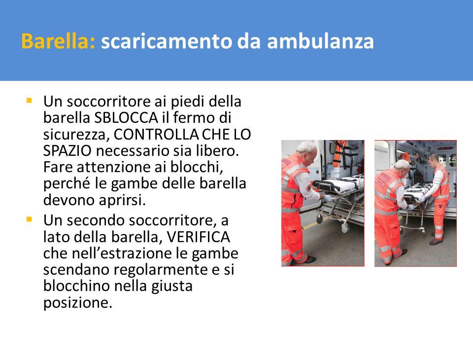 Il trasporto del carico Un soccorritore ai piedi della barella SBLOCCA il fermo di sicurezza, CONTROLLA CHE LO SPAZIO necessario sia libero. Fare atte