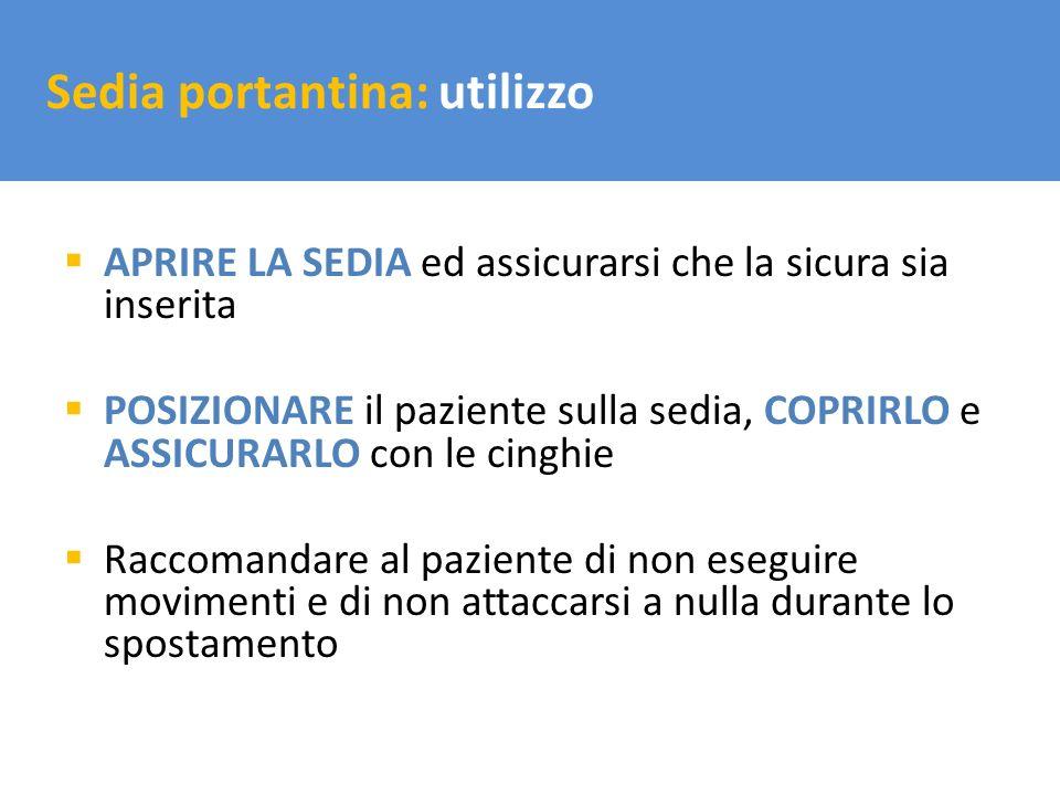 Il trasporto del carico Sedia portantina: utilizzo APRIRE LA SEDIA ed assicurarsi che la sicura sia inserita POSIZIONARE il paziente sulla sedia, COPR