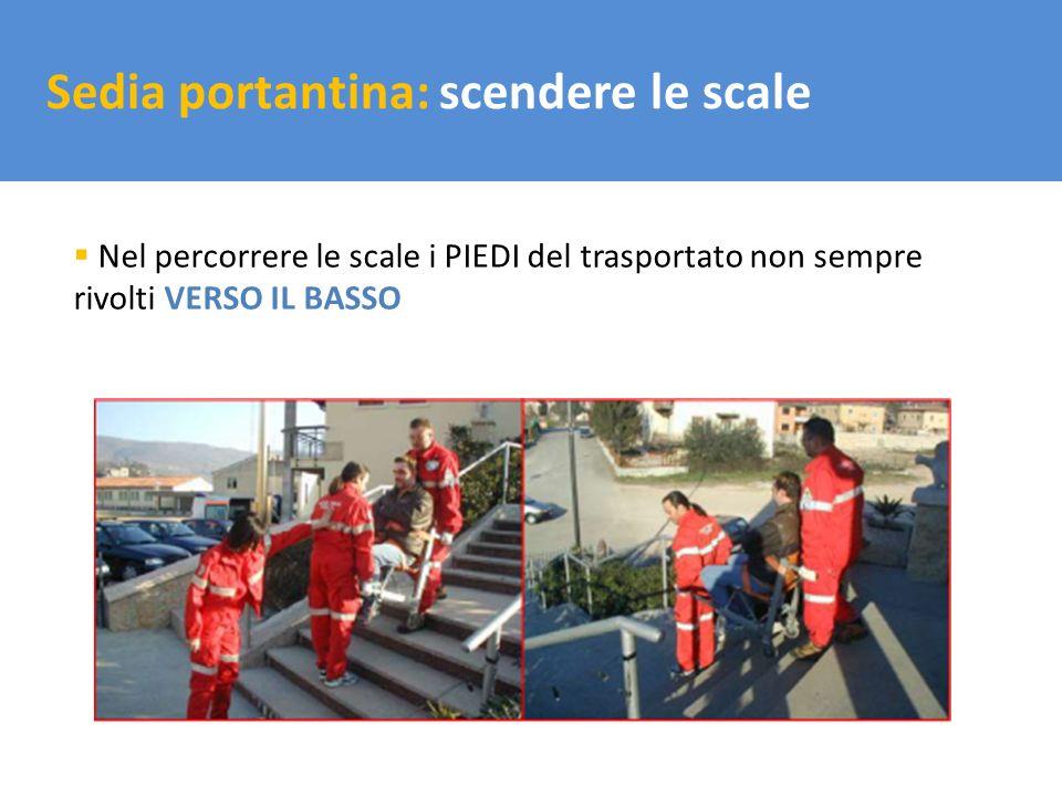Il trasporto del carico Sedia portantina: scendere le scale Nel percorrere le scale i PIEDI del trasportato non sempre rivolti VERSO IL BASSO