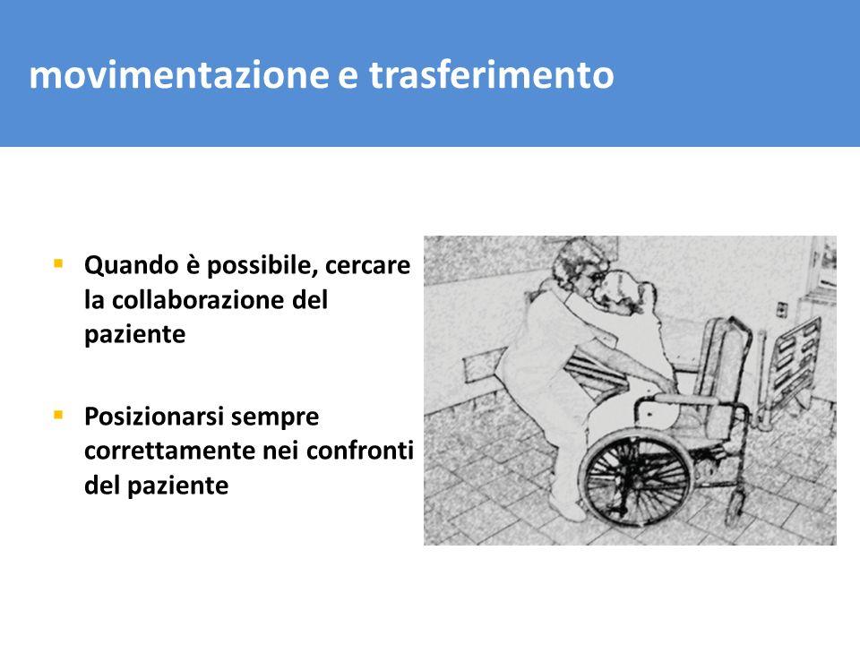 movimentazione e trasferimento Quando è possibile, cercare la collaborazione del paziente Posizionarsi sempre correttamente nei confronti del paziente