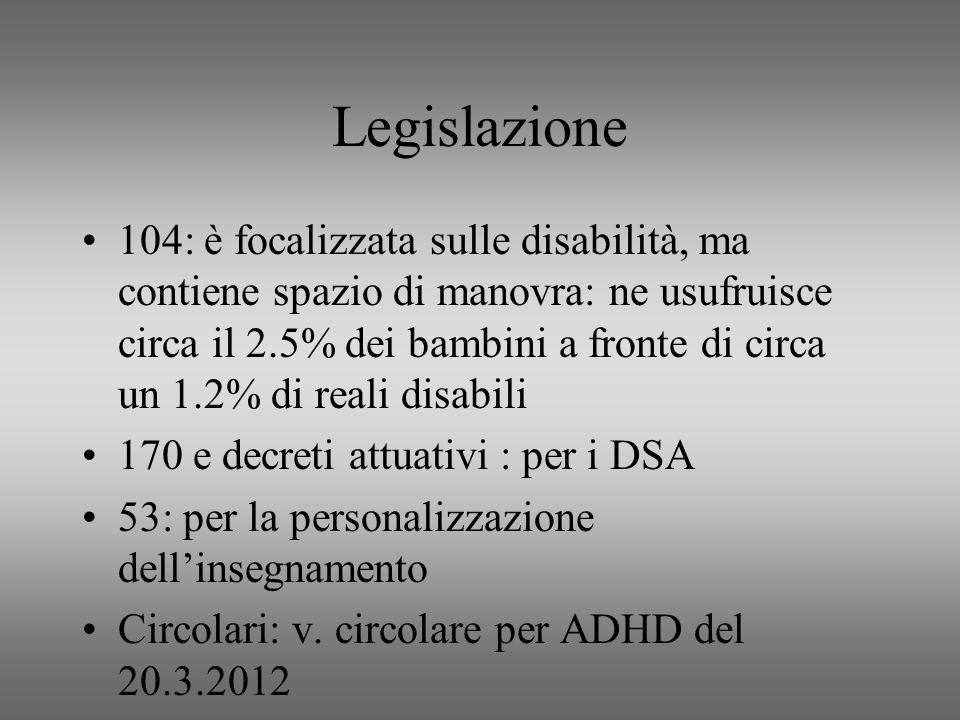 Legislazione 104: è focalizzata sulle disabilità, ma contiene spazio di manovra: ne usufruisce circa il 2.5% dei bambini a fronte di circa un 1.2% di