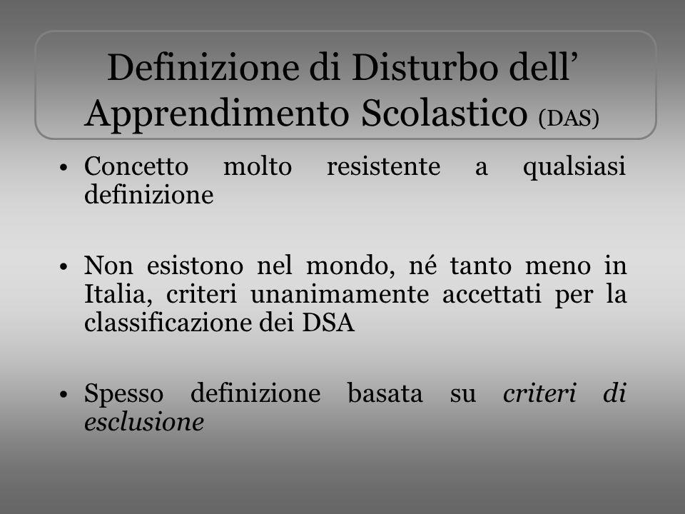 Definizione di Disturbo dell Apprendimento Scolastico (DAS) Concetto molto resistente a qualsiasi definizione Non esistono nel mondo, né tanto meno in