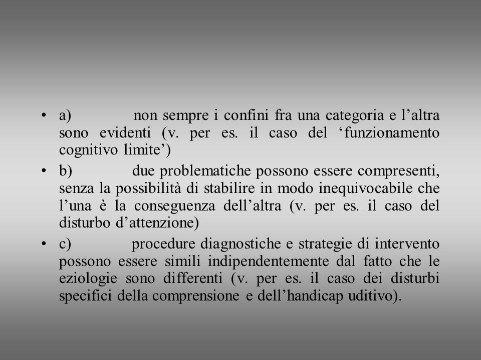 a) non sempre i confini fra una categoria e laltra sono evidenti (v. per es. il caso del funzionamento cognitivo limite) b) due problematiche possono