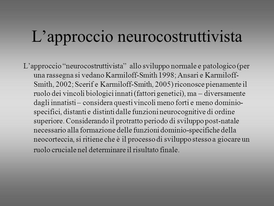 Lapproccio neurocostruttivista Lapproccio neurocostruttivista allo sviluppo normale e patologico (per una rassegna si vedano Karmiloff-Smith 1998; Ans